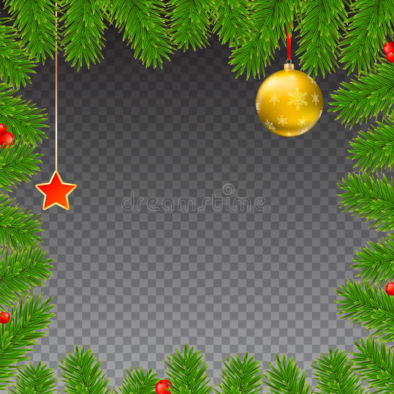 Christmas background with fir branches, red berries, New Year balls and star vector illustration