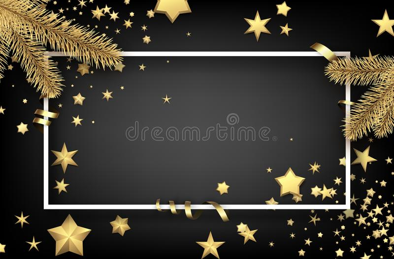 Christmas background with fir branches and stars. vector illustration
