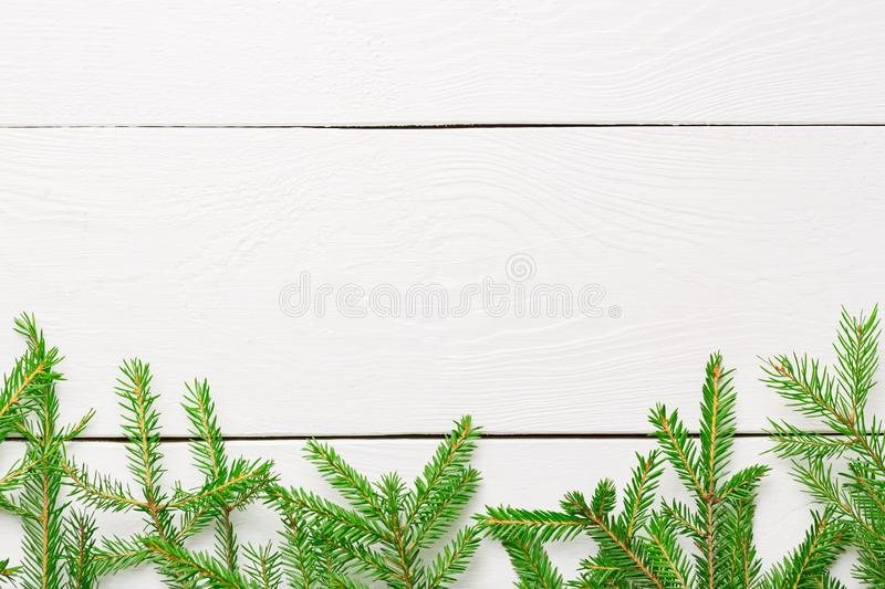 Christmas background. Christmas fir tree branches on white rustic wooden board with copy space stock images