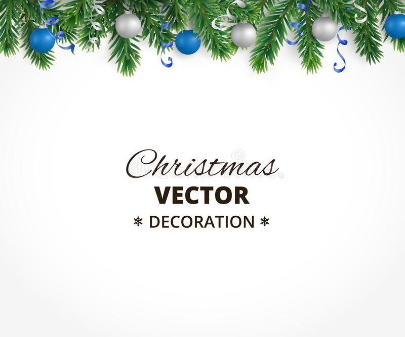 Christmas background with fir tree garland, hanging balls and rib vector illustration
