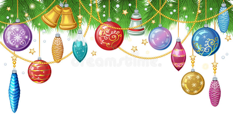 Christmas background with fir twigs, christmas toys and decor. Ation. Vector illustration vector illustration