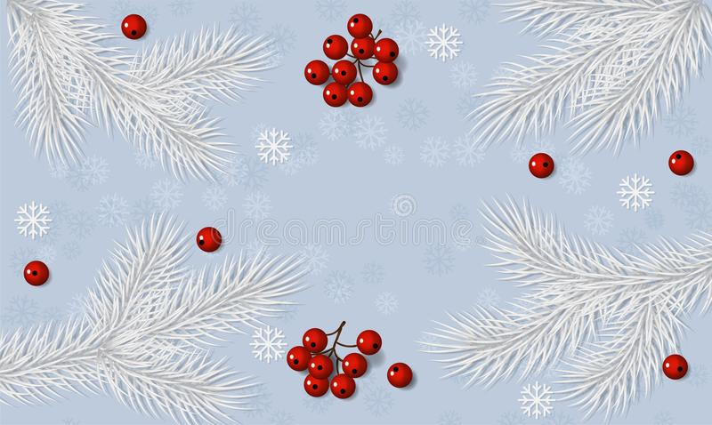 Christmas background with fir white branches and red rowan berry decorations. vector illustration