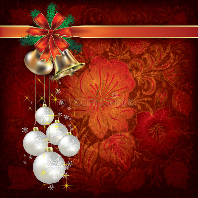Christmas Background With Floral Ornament Stock Photography