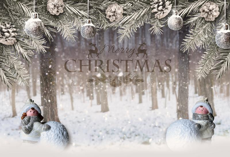 Christmas background with forest, fir branches and decorations royalty free stock image