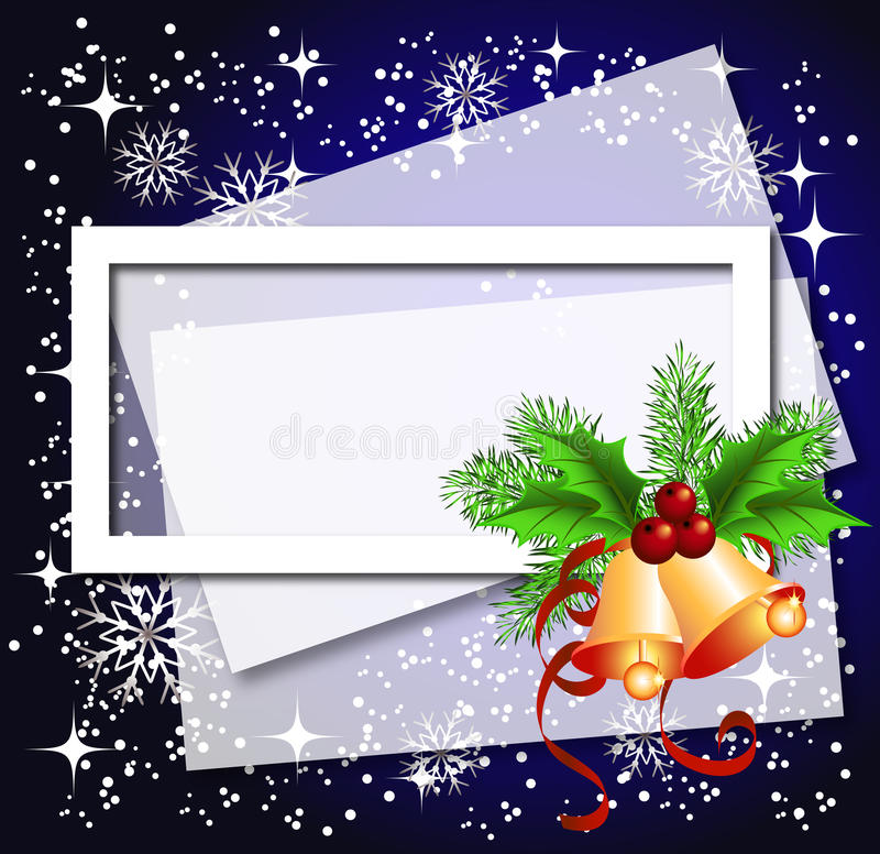 Download Christmas Background With Frame And Bells Stock Vector - Image: 17040635