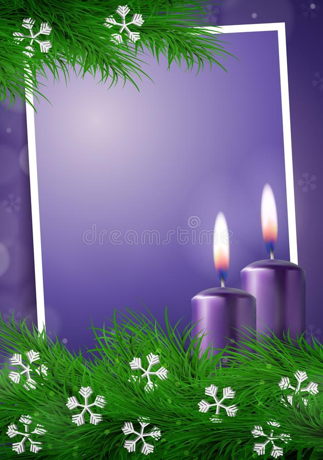 Christmas background with frame and empty space in purple vector stock illustration