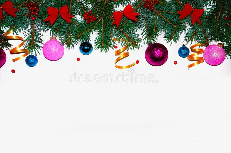 Christmas background. Christmas frame made of fir branches. New Year`s toys. Christmas wallpapers. Flat, top view. Merry christm stock image