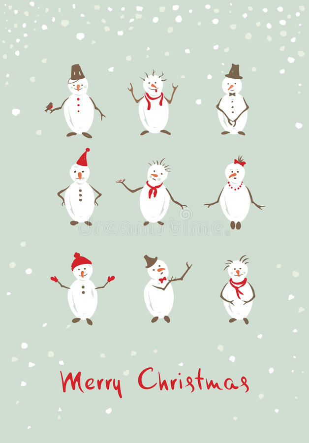 Christmas background funny snowman royalty free illustration