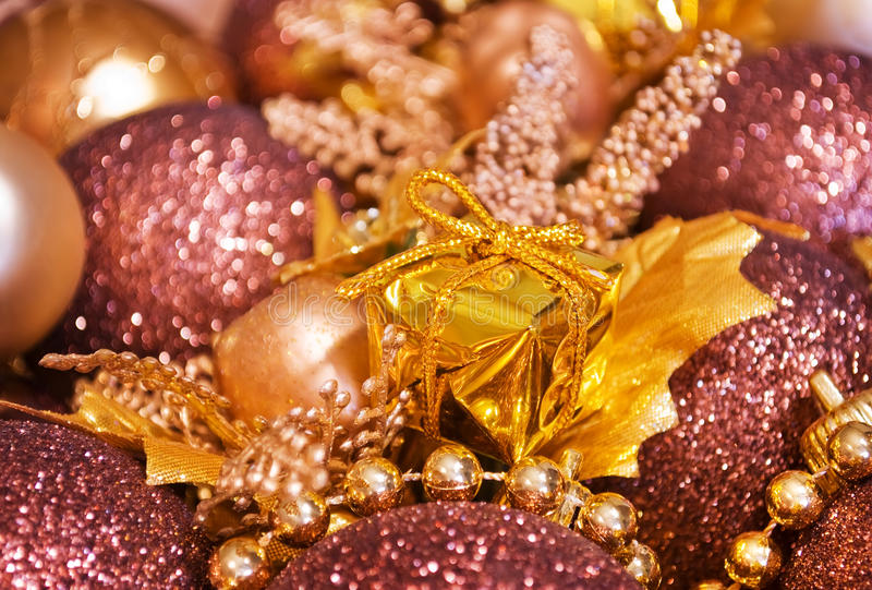 Christmas Background - Gift Box And Baubles Stock Photo