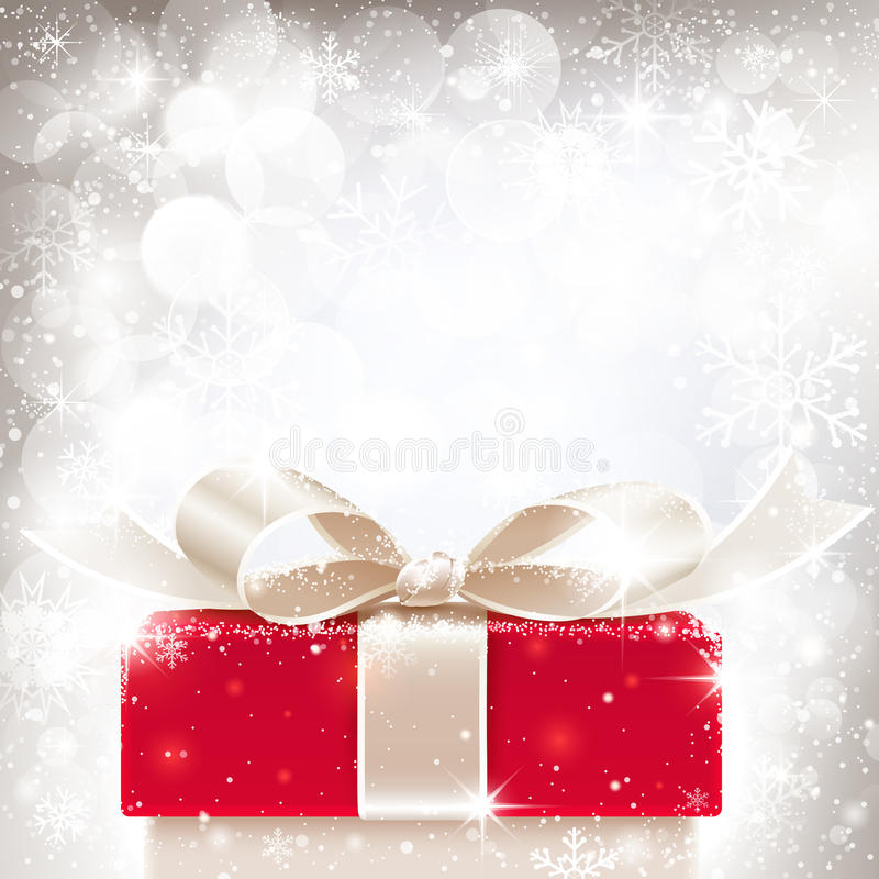 Christmas background with gift vector illustration