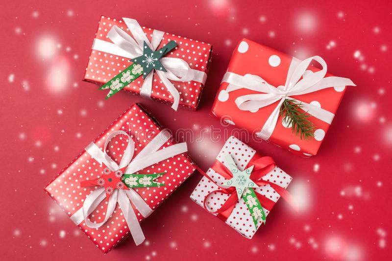 Christmas Background with Gift Boxes Red Background Top View Flat Lay Preparation for Holidays Holiday Festive Background Snow royalty free stock photos