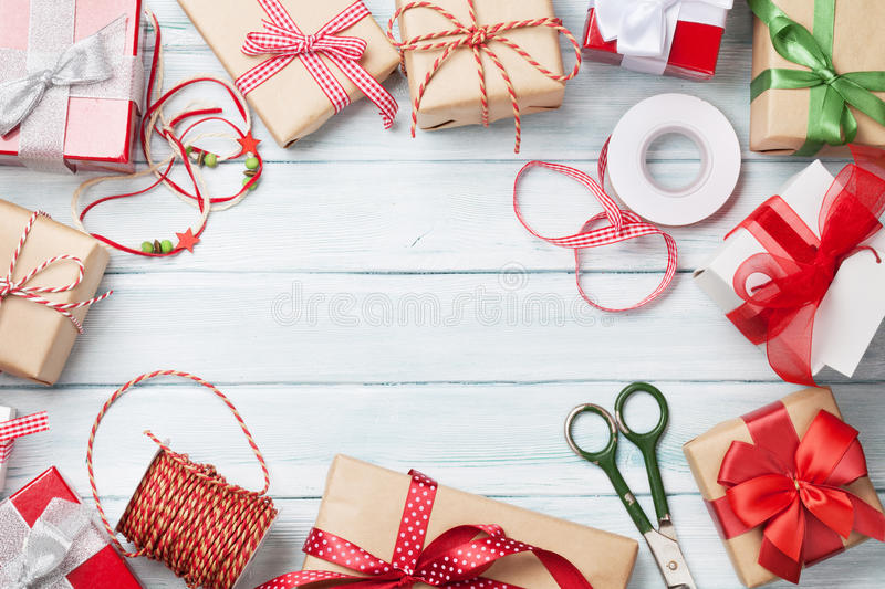 Christmas background with gift boxes stock images