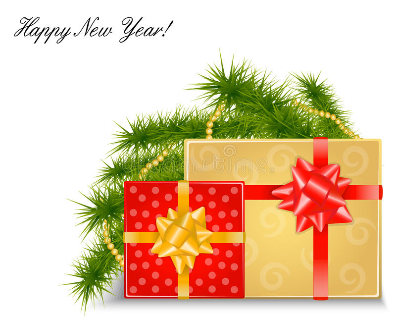 Download Christmas Background With Gifts And Fir Branches Stock Vector - Image: 33317328