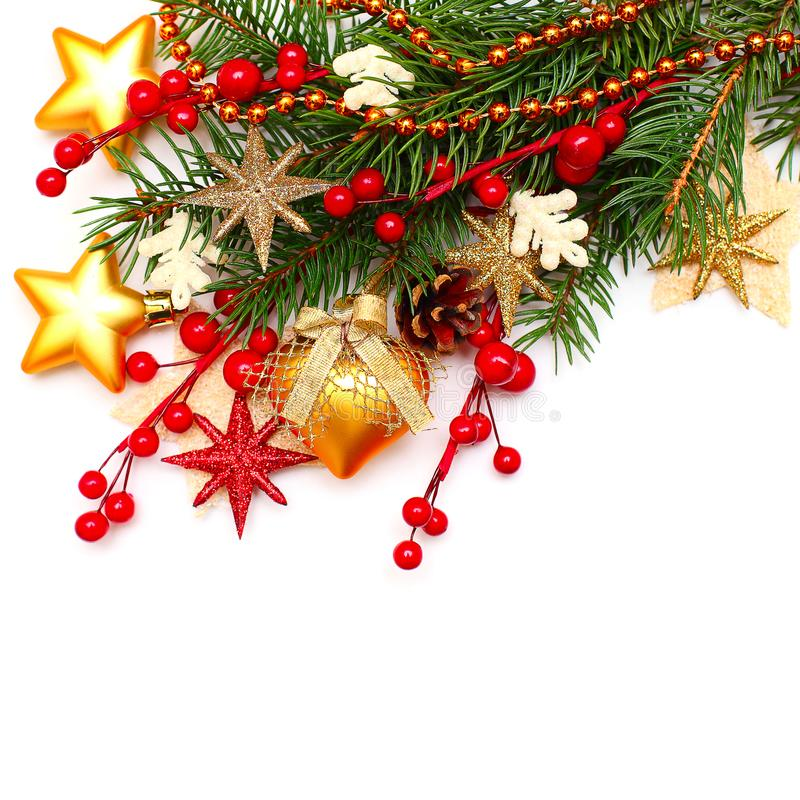 Christmas Background with Glass Ball, Golden Stars royalty free stock images