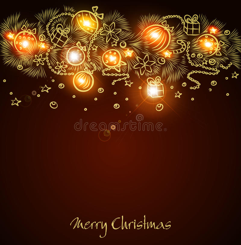 Download Christmas Background With A Glowing Garland Stock Vector - Illustration: 22379617