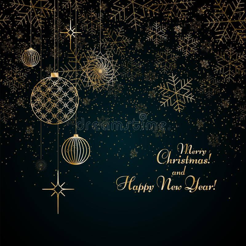 Christmas background Gold balls toys stars snowflakes glitter on a blue background Text Merry Christmas and Happy New Year Pattern stock illustration