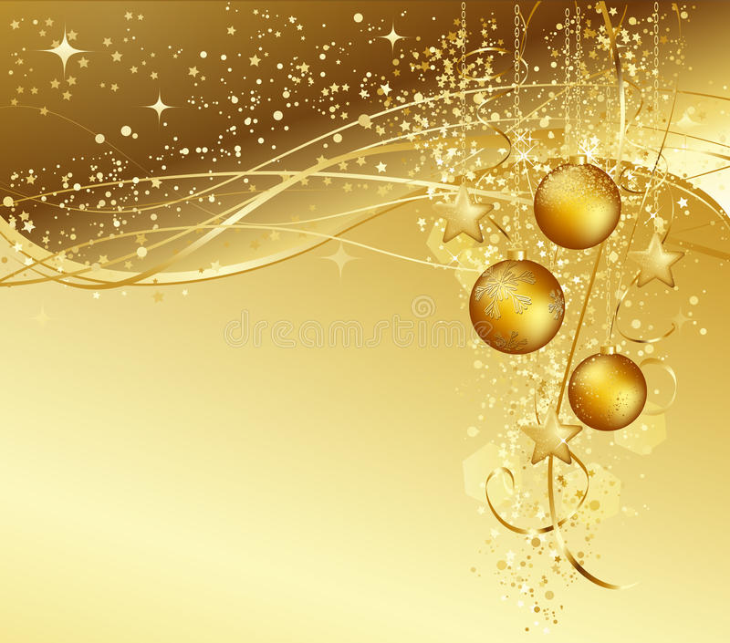 Christmas background with gold baubles vector illustration