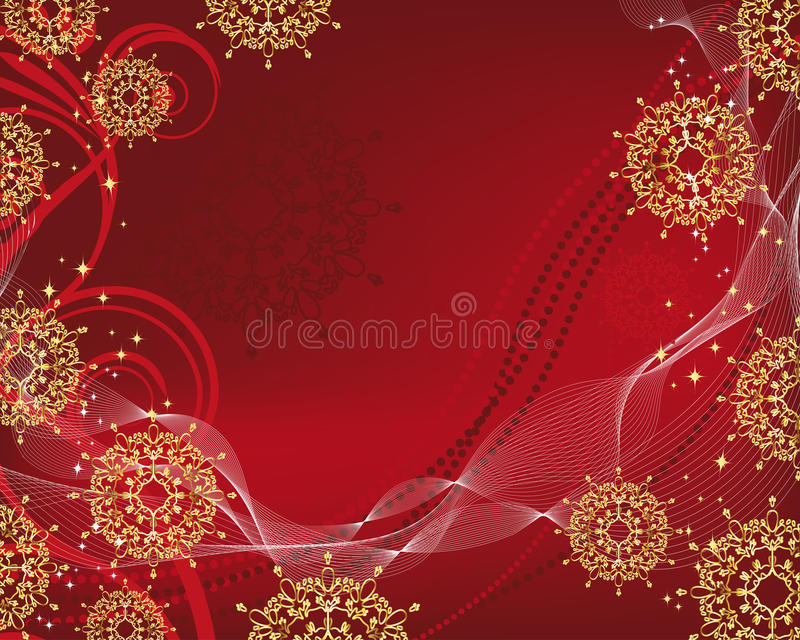 Christmas background with gold filigree snowflakes vector illustration