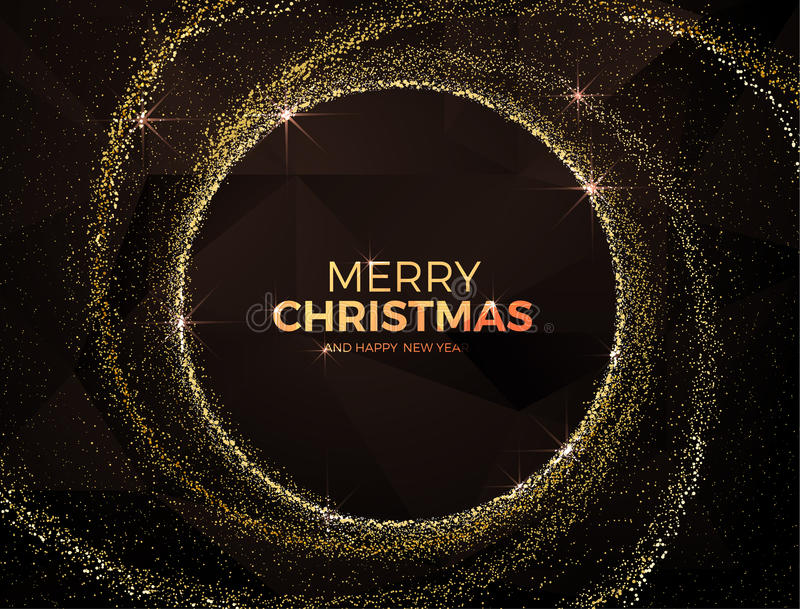Christmas background with gold magic star dust. Vector illustration stock photos