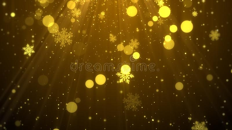 Christmas background gold theme with snowflakes, shiny lights in elegant royalty free illustration