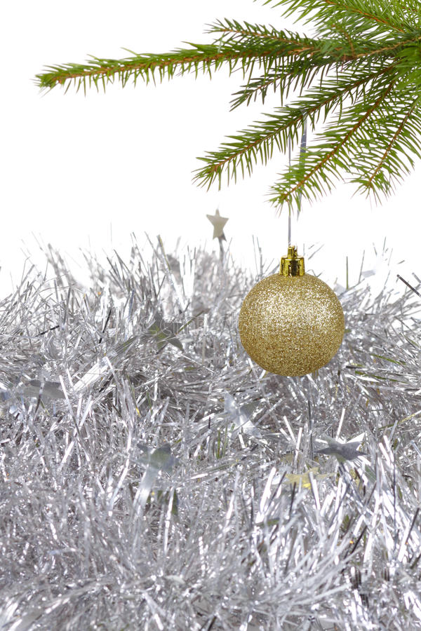 Christmas Background With Golden Decor Ball Royalty Free Stock Photo