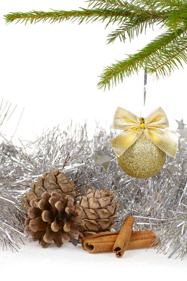 Christmas background with golden decor ball