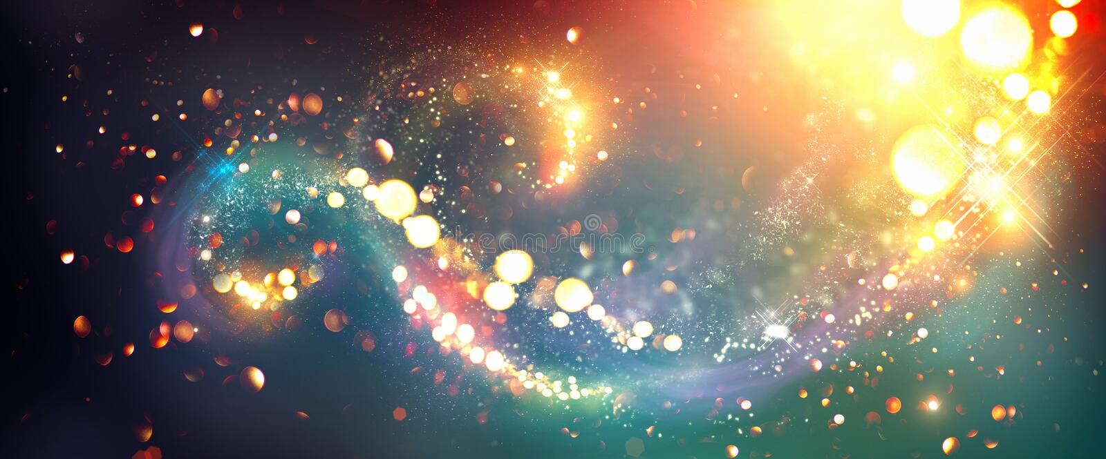 Christmas background. Golden glittering stars swirls royalty free illustration