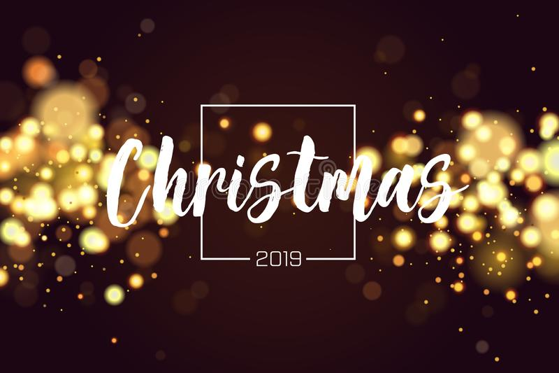 Christmas background 2019 with golden magic bokeh sparkle glitter lights. Abstract defocused circular New Year. Background design. Elegant, shiny, metallic gold vector illustration