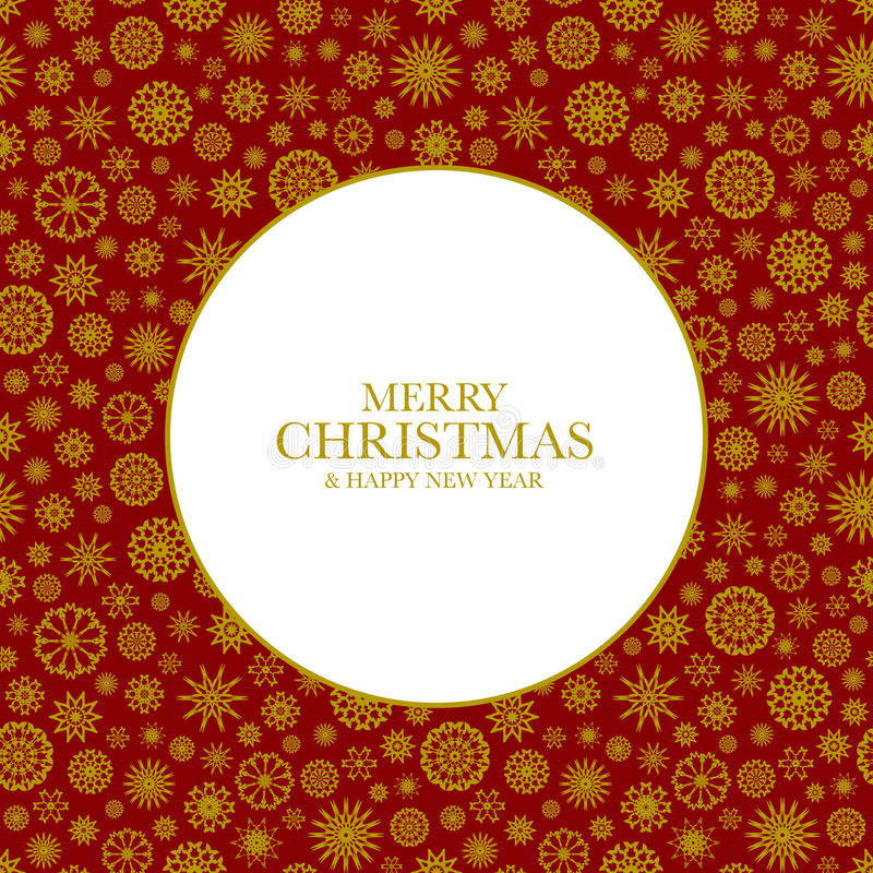 Christmas background with golden snowflakes. And text Merry Christmas & Happy New Year. Frame from snowflakes for your Christmas design stock illustration