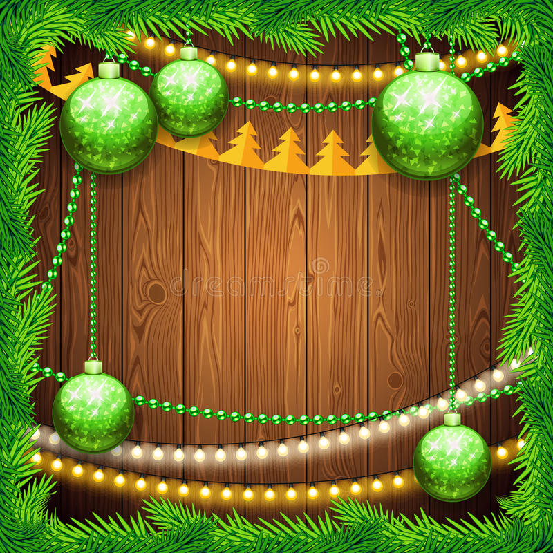 Christmas Background with Green Balls. Used pattern brushes included. Clipping paths included in additional jpg format stock illustration