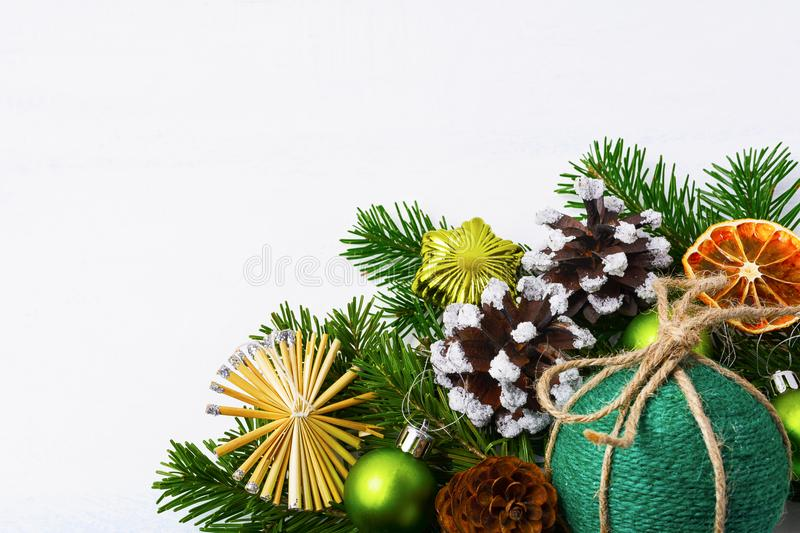Christmas background with green handmade twine ornament, copy sp stock photos