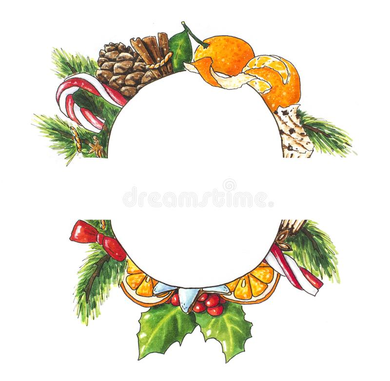 Christmas background with wreath on white. Hand drawn sketch with candies. Christmas background with green wreath with sweets on white. Hand drawn sketch royalty free illustration