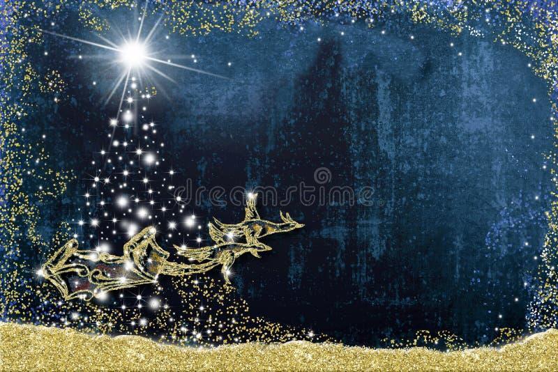 Christmas background greeting card. Santa Claus sleigh stock illustration