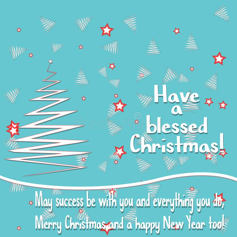 Christmas background with greeting text, star, Merry Christmas and Happy New Year card stock illustration