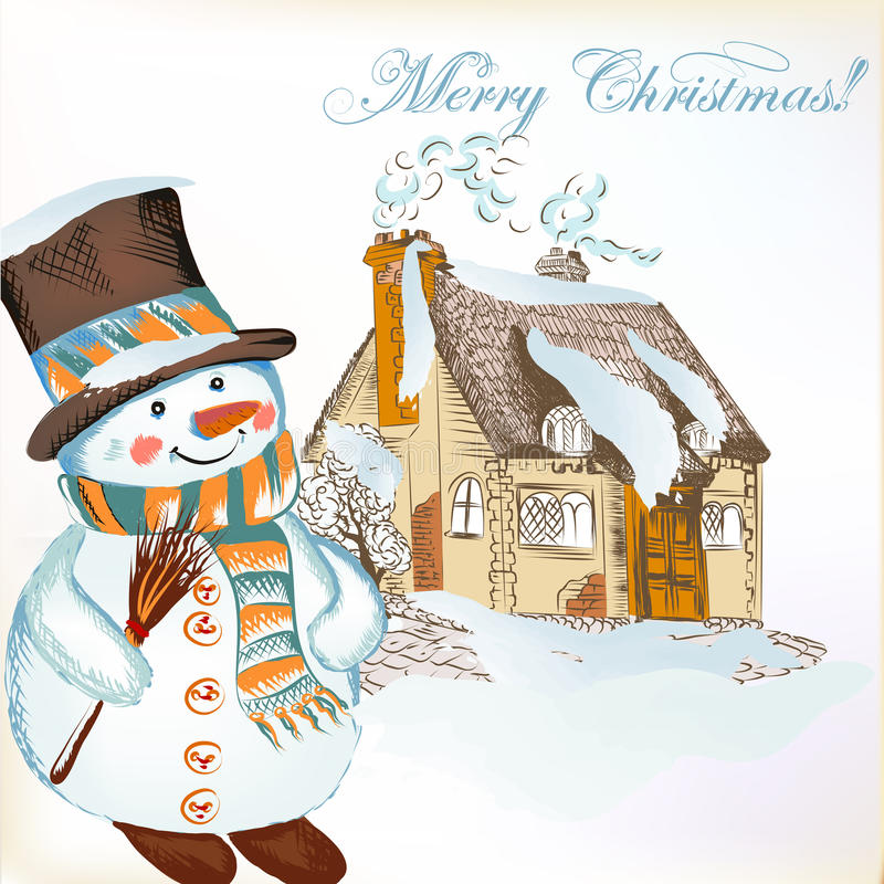 Christmas background with hand drawn snowman and little house stock illustration