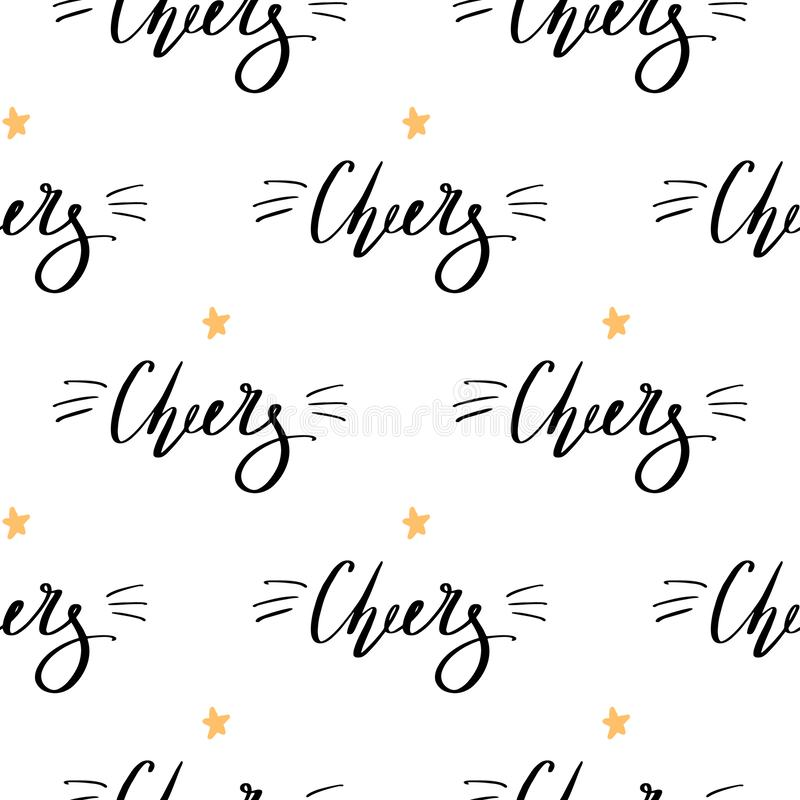 Christmas background with handdrawn lettering Cheers black fonts with yellow star. Cute doodle seamless pattern for New Year invit vector illustration