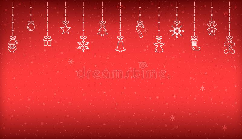 Christmas background of hanging abstract christmas decoration elements stock illustration