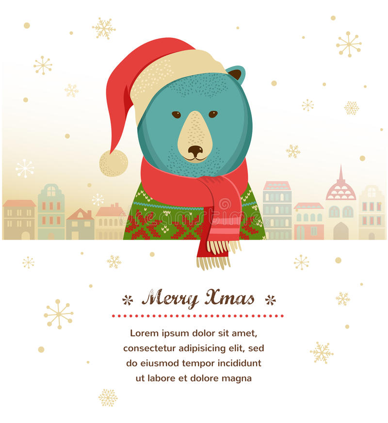 Christmas Background With Hipster Bear Stock Image
