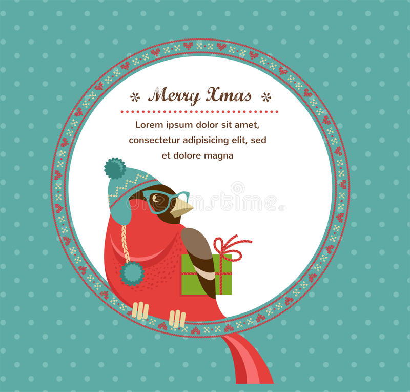 Download Christmas Background With Hipster Bullfinch Stock Vector