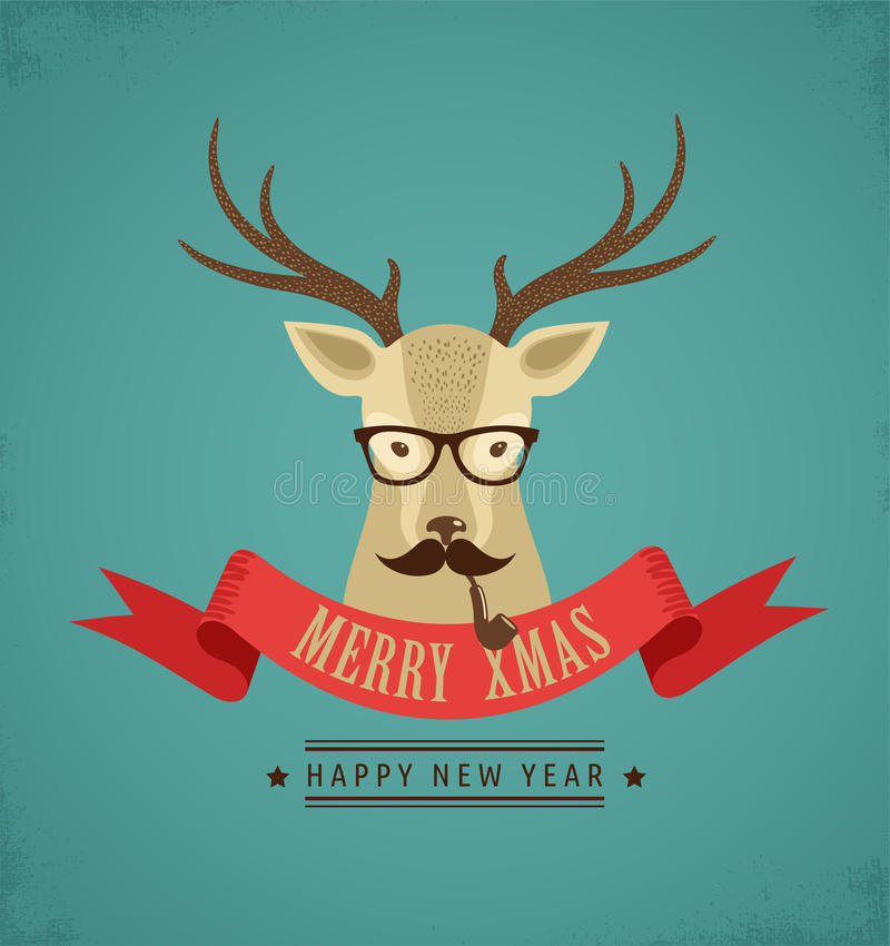Download Christmas Background With Hipster Deer And Ribbon Stock Vector - Image: 33525455