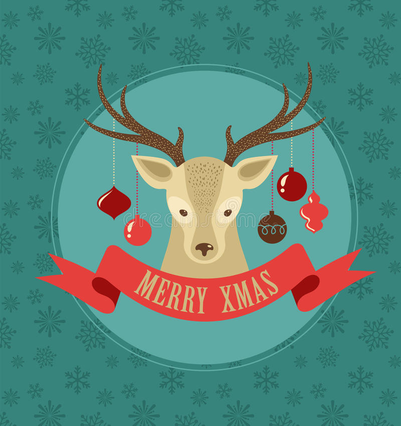 Download Christmas Background With Hipster Deer And Ribbon Stock Vector
