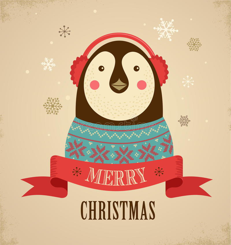 Christmas background with hipster penguin royalty free illustration