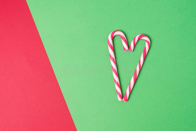 Christmas Background Holiday Concept Flat Lay Copy Space Christmas Candy Cane Heart royalty free stock photo