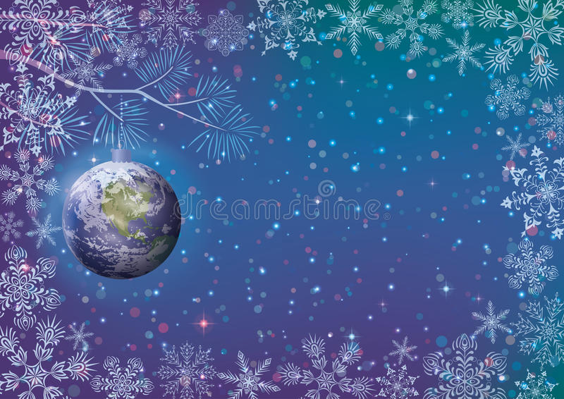 Christmas background. For holiday design, snowflakes and planet Earth as a glass ball on dark blue sky. Elements of this image furnished by NASA (www vector illustration