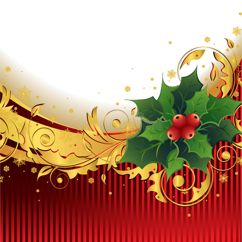 Christmas Background with Holly vector illustration