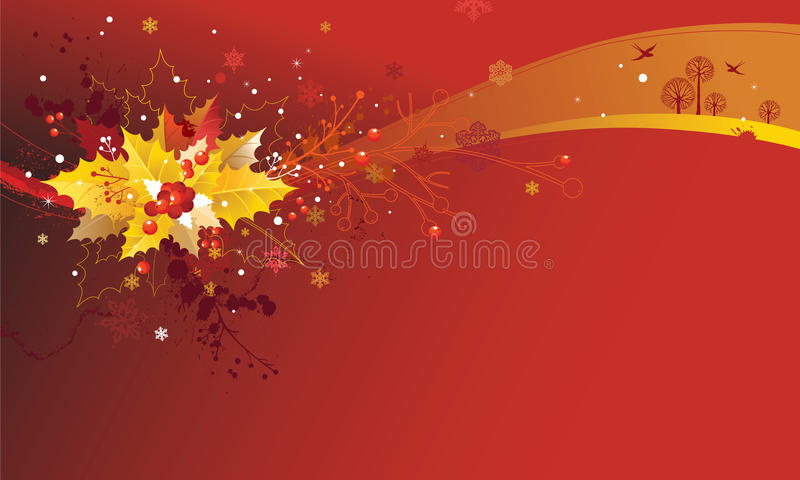 Christmas Background With Holly Leaves And Branche Stock Photos