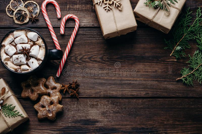Christmas background with hot chocolate and gifts royalty free stock photos