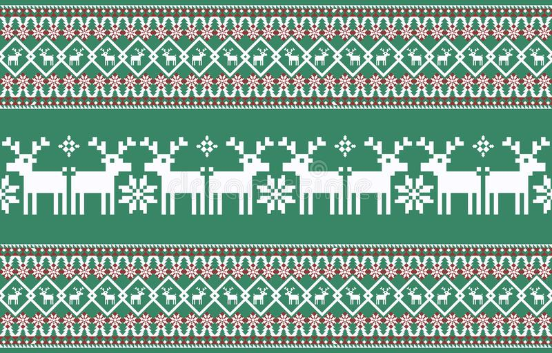 Christmas background. knitted  new year pattern. stock illustration