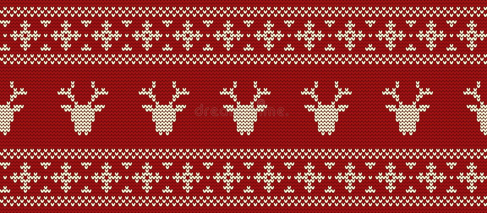 Seamless border. Knitted pattern with deer`s heads on a red background vector illustration