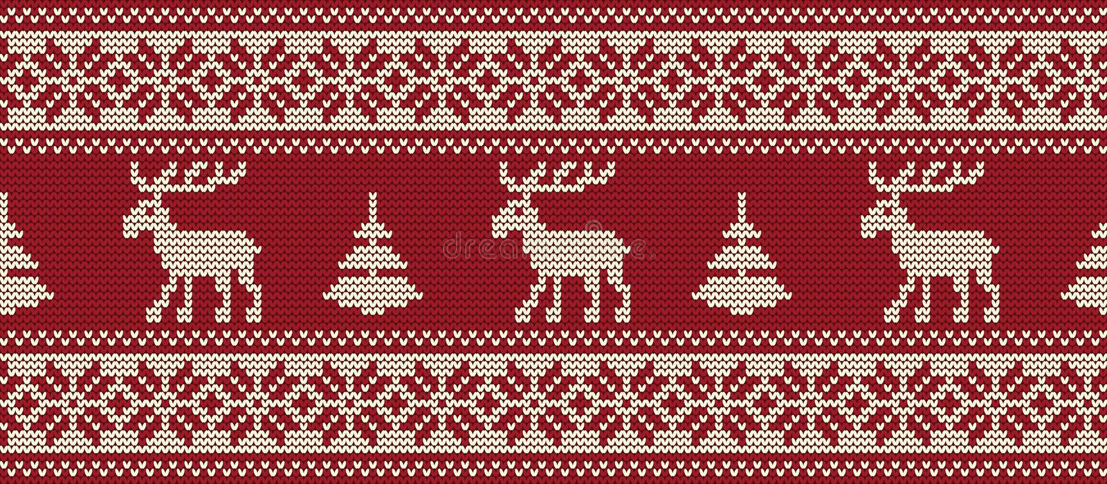 Knitted pattern with deers and fir trees on a red background. Seamless border vector illustration